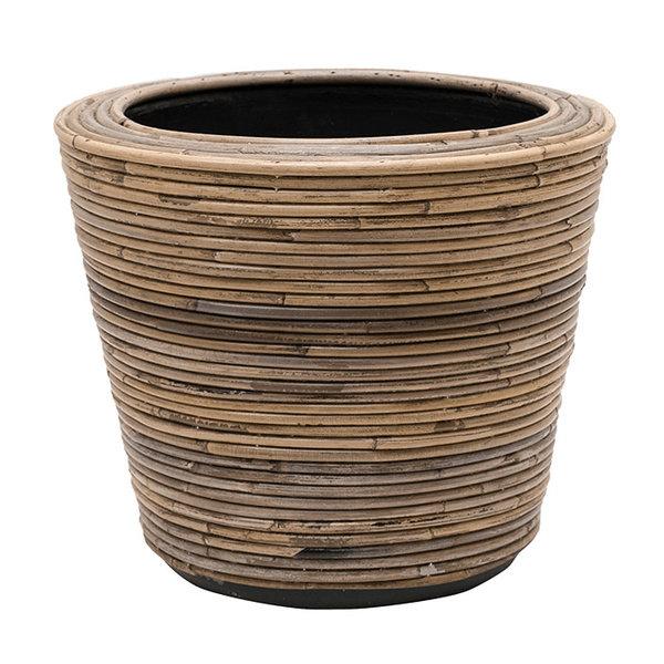 Drypot Rattan Drypot Rattan Stripe Round Grey