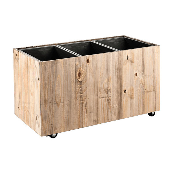 Marrone Wood Box Wheels 3-delig (+ inzetbak) - 93 cm
