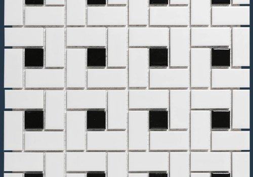 The Mosaic Factory mozaïek PARIS Pinwheel Matt Black / White