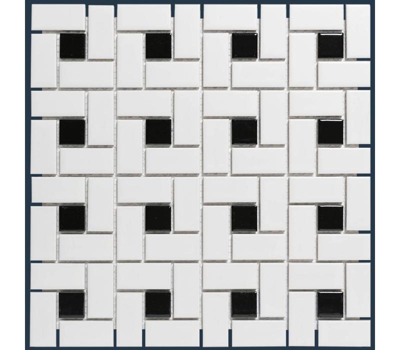mozaïek PARIS Pinwheel Matt Black / White