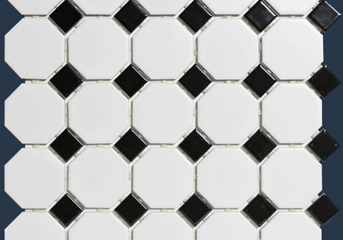 The Mosaic Factory mozaïek PARIS Octagon Matt Black / White