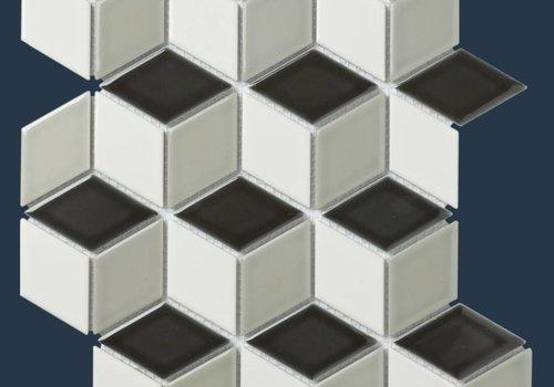 The Mosaic Factory mozaïek PARIS 3D Cubic Glossy White / Grey / Black mix