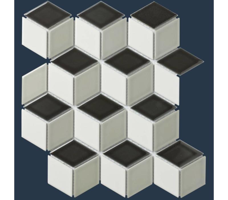 mozaïek PARIS 3D Cubic Glossy White / Grey / Black mix