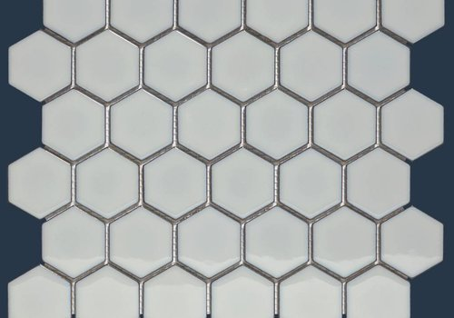 The Mosaic Factory mozaïek BARCELONA Hexagon Glossy Light Grey Edge 51x59