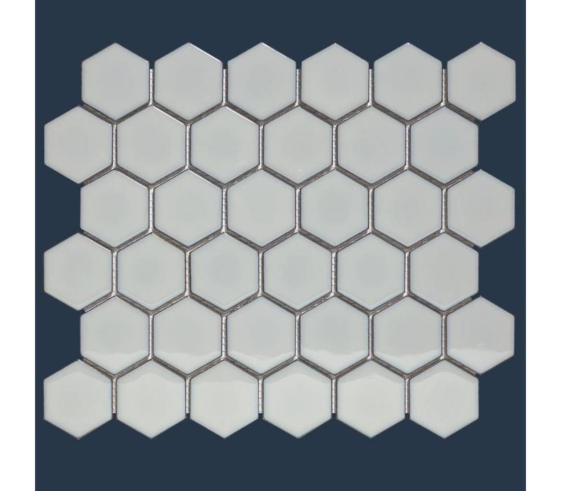 mozaïek BARCELONA Hexagon Glossy Light Grey Edge 51x59