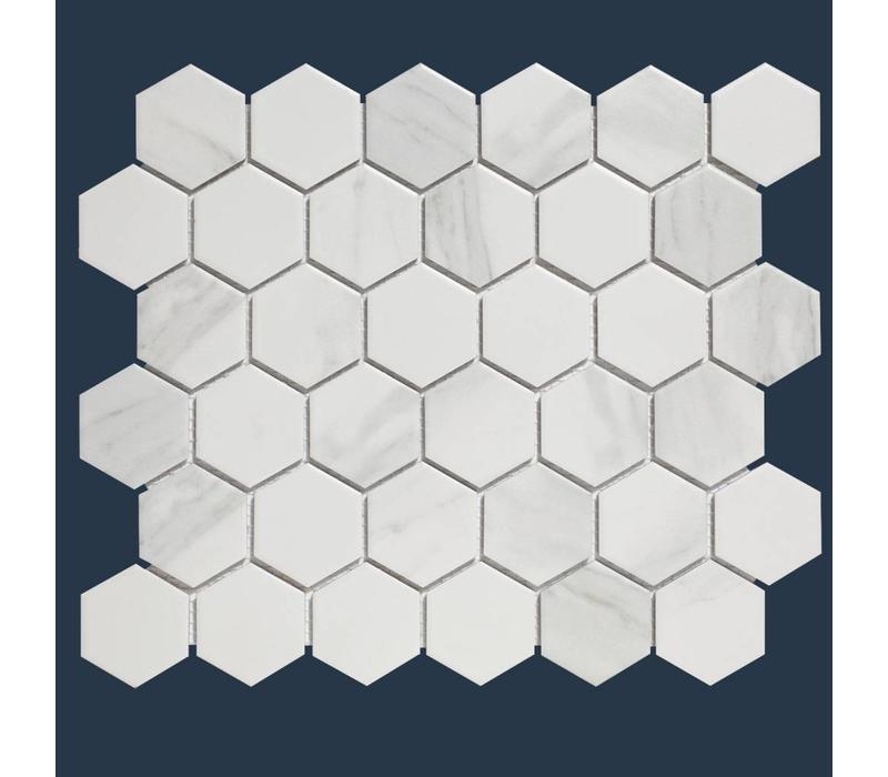 mozaïek BARCELONA Hexagon Carrara White Marble Effect