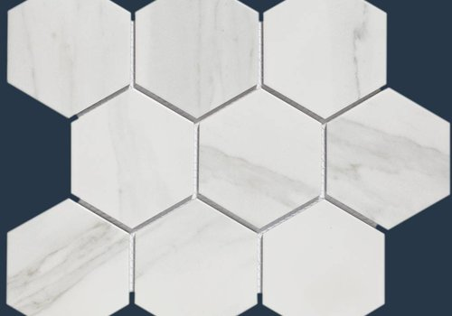 The Mosaic Factory mozaïek BARCELONA Hexagon Carrara White Marble Effect 95x110
