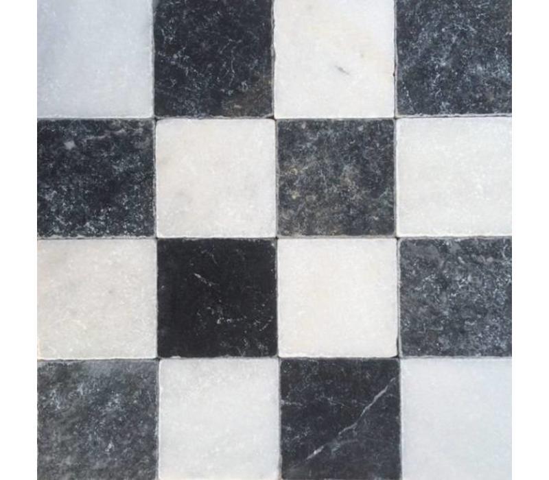 Dambord vloer tegels wit marmer en Turks hardsteen anticato 10x10x1