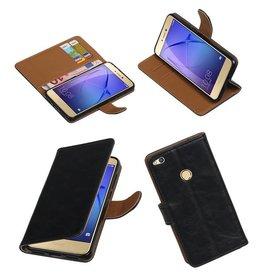 Merkloos Zwart vintage lederlook bookcase voor de Huawei P8 Lite 2017 wallet hoesje