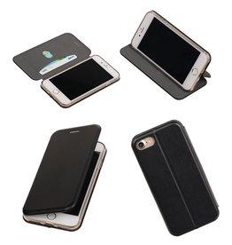 Merkloos Zwart Folio Slim Stand Booktype TPU case voor Apple iPhone 7 / 8