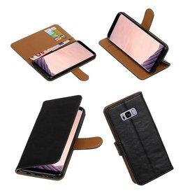 Merkloos Zwart vintage lederlook bookcase wallet hoesje voor Samsung Galaxy S8