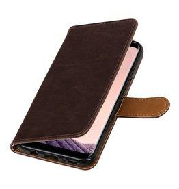 Merkloos Donkerbruin vintage lederlook bookcase wallet hoesje voor Samsung Galaxy S8 Plus