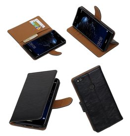 Merkloos Zwart vintage lederlook bookcase wallet hoesje voor Huawei P10 Lite