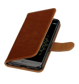Merkloos Bruin vintage lederlook bookcase wallet hoesje voor LG G6