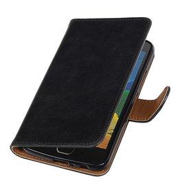 Merkloos Motorola Moto G5 Plus hoesje vintage lederlook zwart