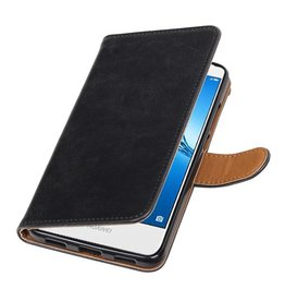 Merkloos Huawei Y7 / Y7 Prime hoesje vintage lederlook Zwart