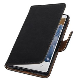 Merkloos Nokia 3 hoesje bookcase vintage lederlook Zwart