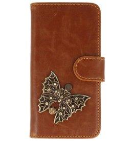 MP Case LG Q6 bruin hoesje vlinder brons