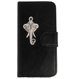 MP Case Apple iPhone 5 / 5s /  SE zwart hoesje olifant zilver