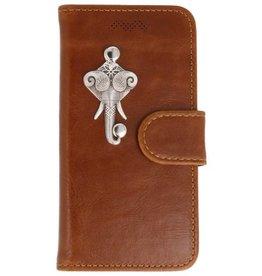 MP Case Apple iPhone 5 / 5s /  SE bruin hoesje olifant zilver