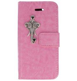 MP Case Apple iPhone 5 / 5s /  SE roze hoesje olifant zilver