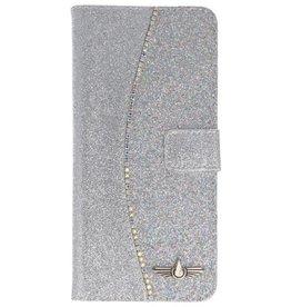 Galata Glitter bookcase Samsung Galaxy S8 Plus zilver