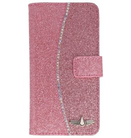 Galata Glitter tpu bookcase Apple iPhone X roze
