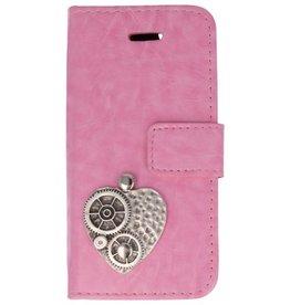 MP Case Apple iPhone 5 / 5s / SE roze hoesje hart zilver