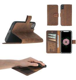 MP Case MP Case® Echt leer iPhone Xs / X bookcase Antiek Bruin