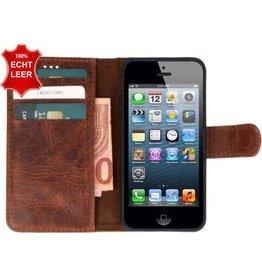 Galata Galata Effen Book case Apple iPhone 5 5S SE echt leer Cognac Bruin