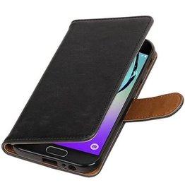 Merkloos Zwart vintage lederlook bookcase wallet hoesje voor de Samsung Galaxy A5 (2017)