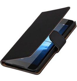 Merkloos Zwart bookcase voor Microsoft Lumia 650 wallet cover hoesje