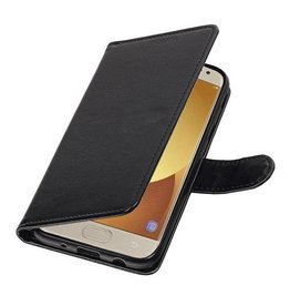 Merkloos Samsung Galaxy J7 (2017) Basis TPU bookcase zwart