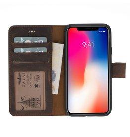 Galata Echte lederen book wallet ID iPhone Xs / X antiek bruin