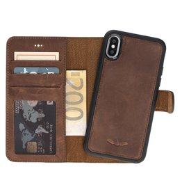 Galata Echt leer 2in1 wallet case iPhone Xs / X antiek bruin