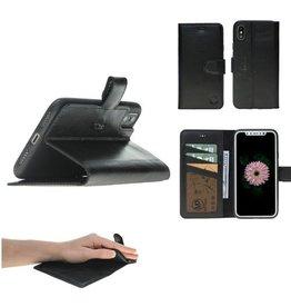 MP Case MP Case® Echt leer iPhone X bookcase zwart