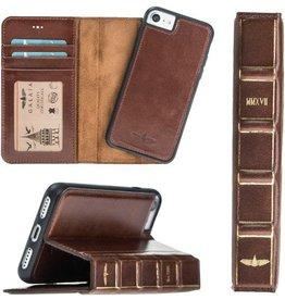 Galata Dubbel wallet case iPhone 7 / 8 hoesje echt leer bruin