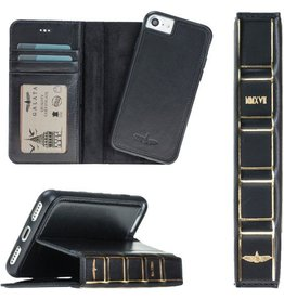 Galata Dubbel wallet case iPhone 7 / 8 hoesje echt leer zwart