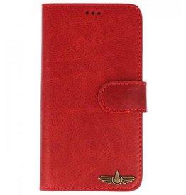 Galata Book case Samsung Galaxy A8 (2018) echt leer vintage rood
