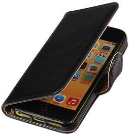 MP Case Zwart lederlook bookcase iPhone 5C wallet hoesje