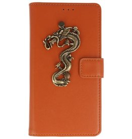 MP Case Bruin Motorola Moto G6 bookcase draak groot brons