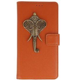 MP Case Bruin Motorola Moto G6 Play bookcase olifant brons