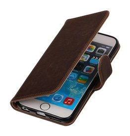 Merkloos Vintage iPhone 6/6s bookcase mocca