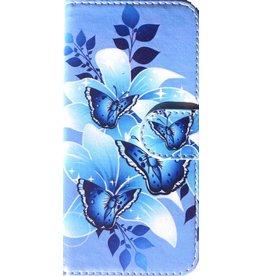Merkloos iPhone 7/8+(Plus) bookcase vlinder blauw