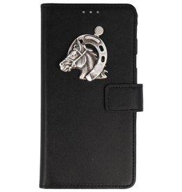 MP Case Samsung Galaxy A6+(Plus) 2018 bookcase paard zilver