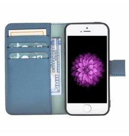 Galata Galata echt leer book case iPhone 5 / 5s / SE Blauw