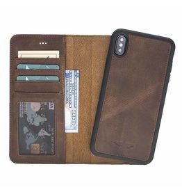 Galata Galata Echte leer 2in1 wallet iPhone Xs Max antiek bruin