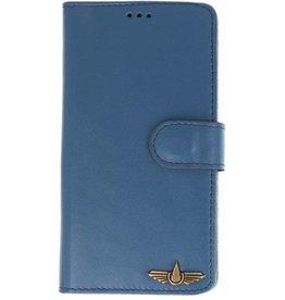 Galata Book case Samsung Galaxy A6 2018 echt leer blauw