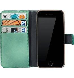 Galata Galata echt leer book case iPhone 5 / 5s / SE gebrand turquoise