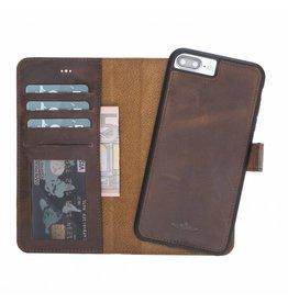 Galata Echt leer wallet case 2in1 voor iPhone 7 Plus / 8 Plus Antiek bruin